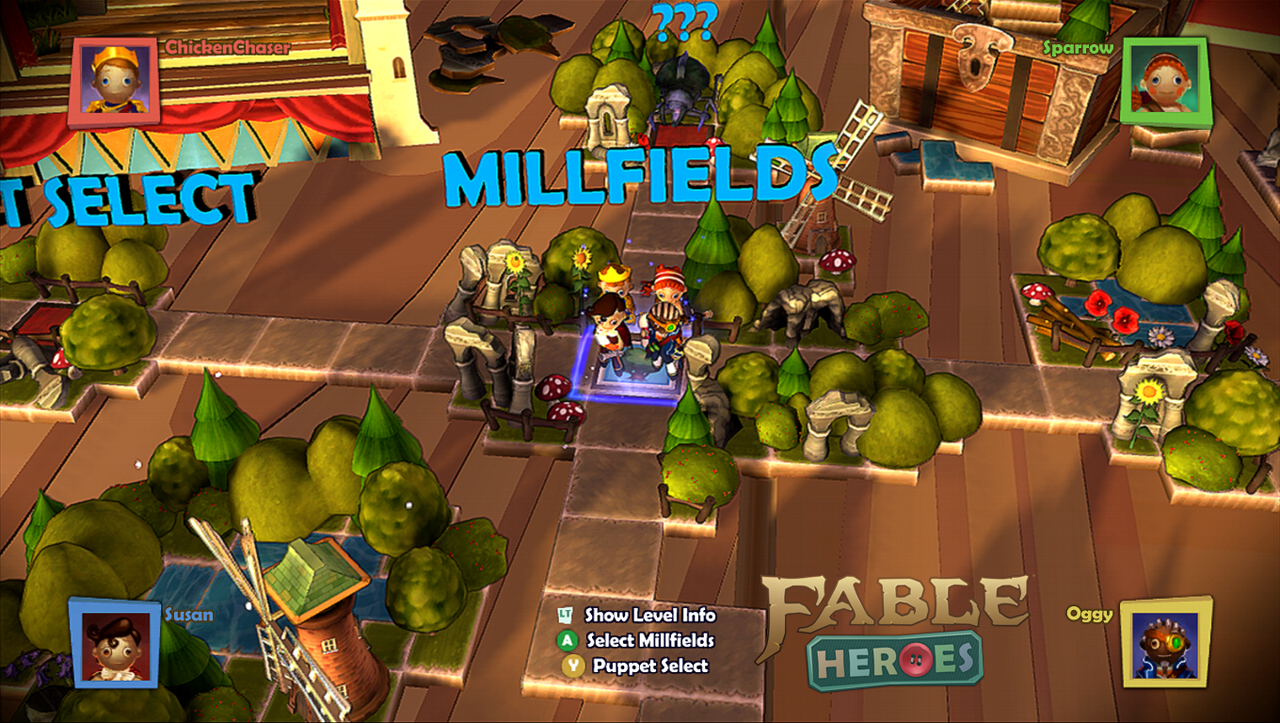 Fable Heroes overworld map is trying very hard to invoke the style of party games.