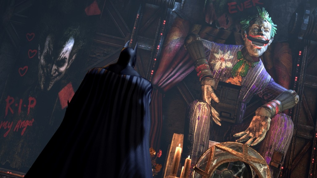 Batman pays his last respects to the Joker shrine.